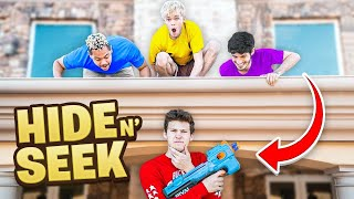 NERF HIDE AND SEEK IN THE NEW BUCKETSQUAD HOUSE!