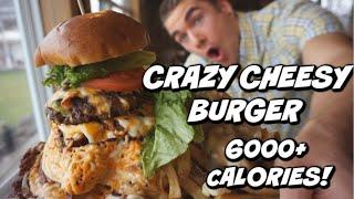 CHEESY BURGER CHALLENGE WITH POUTINE! Man vs food - Big Food Challenge - Cambridge ON