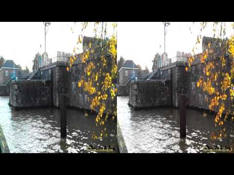 3d stereoscopic video Side by Side autumn seaport Herbst im Hafen