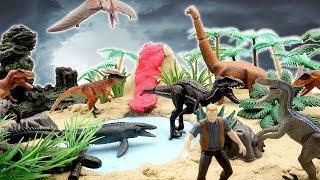 DIY Volcano Eruption Jurassic World 2 Fallen Kingdom Island~ Dinosaurs Jungle Toys For Kids