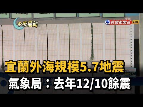 宜蘭外海規模5.7地震 氣象局:去年12/10餘震-民視新聞