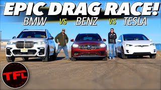 What's The Quickest Family Hauler? We Drag Race a BMW vs Mercedes-AMG vs Tesla To Find Out!