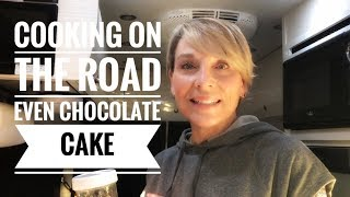 Cooking on the road in a Pleasure Way Campervan