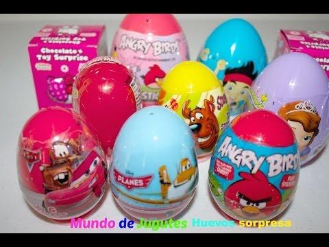 10 Huevos Sorpresa-Surprise Eggs  Angry Birds,Cars,Planes,Sofia The First,Spider Man Hello Kitty