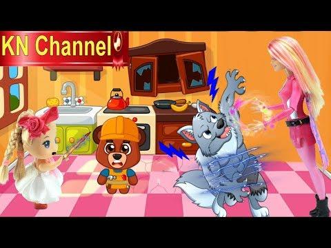 CHÓ SÓI XẤU XA LÀM BỂ NHÀ GẤU TRÚC PANDA & ĐỘI CỨU HỘ BÚP BÊ KN Channel