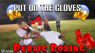 PUT THE GLOVES ON Public Boxing in the Hood (He Got Knocked Out👀)
