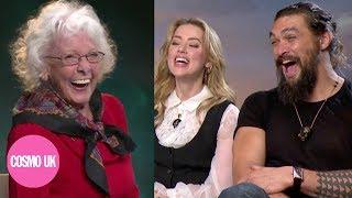 Adorable Grandma interviews Jason Momoa and Amber Heard for Aquaman   Cosmopolitan UK