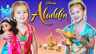 Disney Aladdin First Look at New Toys Girls Dressup and Tea Party Toys! Jasmine Genie Lamp #Aladdin