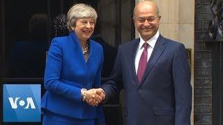 Theresa May Greets Iraq President at 10 Downing Street