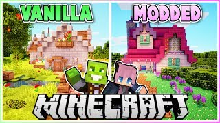 Vanilla vs Modded Minecraft House Makeover (PART 2) with LDShadowlady!