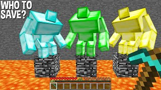 need to CHOICE and SAVE DIAMOND MUTANT or EMERALD MUTANT or GOLD MUTANT in Minecraft !!!