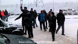 Петрозаводские дальнобойщики перекрыли дорогу