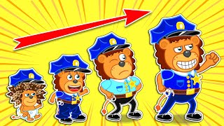 Lion Family | Wants to Be Police Since Childhood. Dream Jobs of Kids | Cartoon for Kids