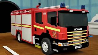 Learn Shapes with Police Truck - Rectangle Tyres Assemby - Cartoon for Kid 3D Fire Truck Part #5