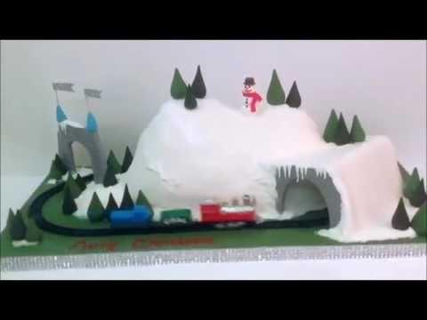 Santa Snow Train Cake
