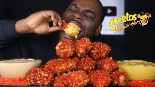 CHEESY HOT CHEETOS FRIED CHICKEN WINGS MUKBANG | BEAST MODE