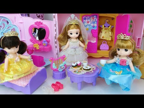 Baby doll dress change and bed house toys princess car play 아기인형 리틀미미 시크릿 파티 하우스 자동차 장난감놀이 - 토이몽