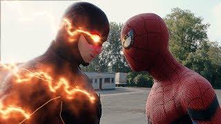 Spider-man: Homecoming Spider-Man vs The Flash FIGHT SCENE | Marvel vs DC 2017