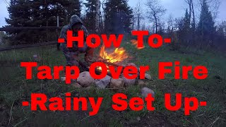Unusual Way to Use a Tarp Over a Fire - The Beast Sleeping Pad Set Up