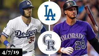 Los Angeles Dodgers vs Colorado Rockies Highlights | April 7, 2019