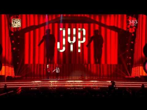 박진영 with 니엘+은지+호야+효성 [날떠나지마+그녀는 예뻣다+난 여자가 있는데+Honey+너뿐이야+Hands UP] @2013 SBS 가요대전 1부