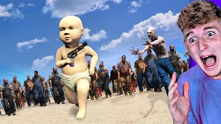 BIGGEST Zombie Hoard CHASES BABY In GTA 5..