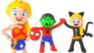 SUPERHERO CUSTOMS' PARTY ❤ Spiderman, Hulk & Frozen Elsa Play Doh Cartoons For Kids