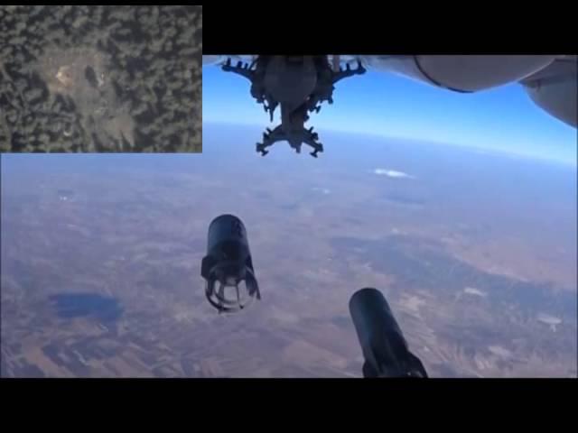 Уничтожение скопления техники боевиков авиаударом бомбардировщика Су-24М