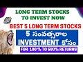 Best 5 Long Term Stocks Must Have In Your Portfolio | #StockmarketTelugu
