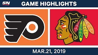 NHL Game Highlights | Flyers vs. Blackhawks - March 21, 2019