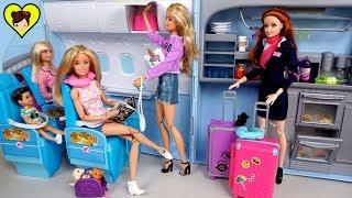 Barbie Gemelas Rutina de Viaje en Avion -  Barbie Viajando a Disney World!