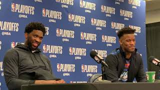 Joel Embiid and Jimmy Butler after Game 6