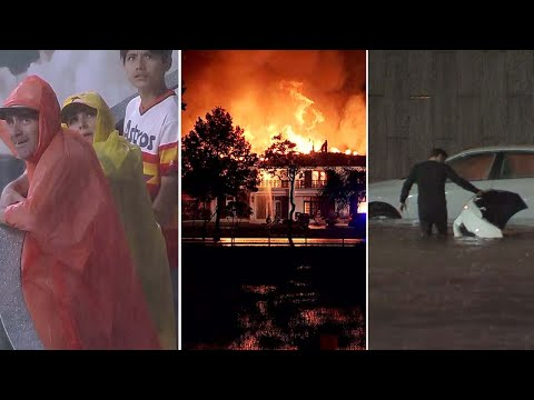 Houston weather - drivers go wrong way to escape flood, washout at Astros game, mansion fire: The 60