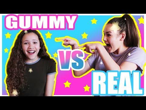 Gummy vs Real! (Haschak Sisters)