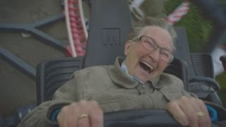 Grandma Ria rides rollercoaster for the first time