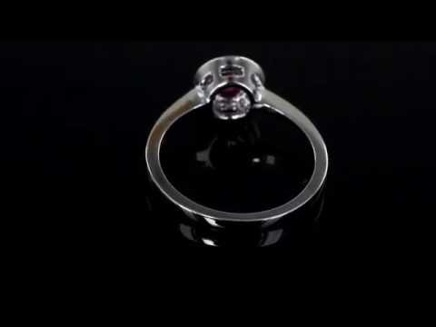 Browns Family Jewellers Ruby and Diamond Halo Ring