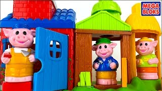 MEGA BLOKS BLOCK BUDDIES THE THREE LITTLE PIGS WITH THREE HOUSES, A WOLF, PIGS AND SOUND EFFECTS