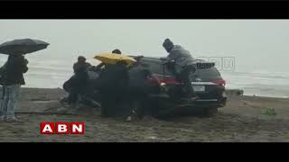 Watch: Minister Ganta Car stuck in Bheemili Beach..