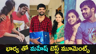 Jabardasth Mahesh with his wife Pavani after marriage phot..