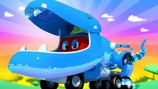 Park Jurajski - Robot T-Rex - Carl Super Ciężarówka - Miasto Samochodówdów 🚚 ⍟ Bajki Dla Dzieci