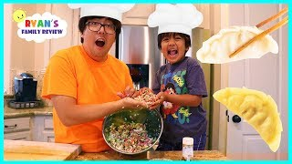 Kid Size Cooking Making Gyoza Japanese Dumpling with Ryan's Family Review!!!