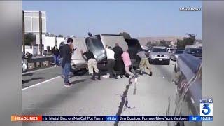 Good Samaritans Lift Truck Following 60 Freeway Crash in Montebello