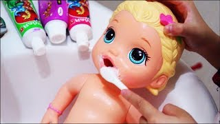 Funny Good baby and Baby born doll Brush your teeth and indoor playground Play Nursery Rhymes Songs