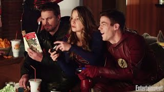 Flash, Arrow, Supergirl, Legends of Tomorrow crossover video by EW