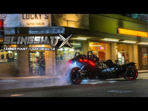 """What happens when you put world champion Formula Drift & Rallycross champion Tanner Foust behind the wheel of a 400+ HP, Turbo Charged Polaris Slingshot at 4:00 AM in San Diego, CA? Take a ride as Tanner Foust blasts through """"America's Finest City"""" behind the wheel of this one-of-a-kind vehicle known as the SlingshotX Polaris Slingshot. High speed drifts, precision turns and narrow passages make up this 4 minute power drive through San Diego, CA."""