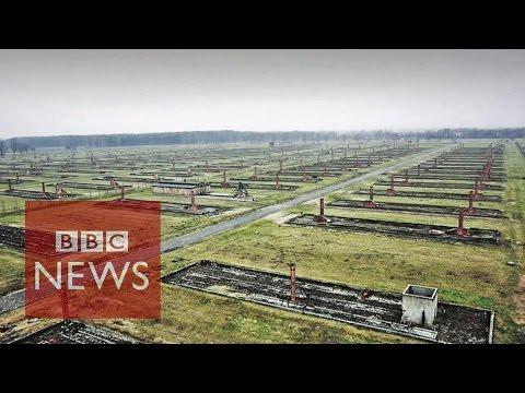 Un drone sobrevuela el campo de concentración de Auschwitz y las imágenes impresionan