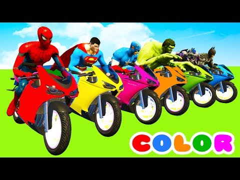 MotorCycles COLOR for Babies in Cars Cartoon & Superheroes for kids