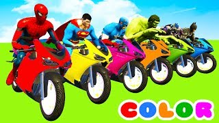 MotorCycles COLOR for Babies in Cars Cartoon & Superheroes for kids - YouTube