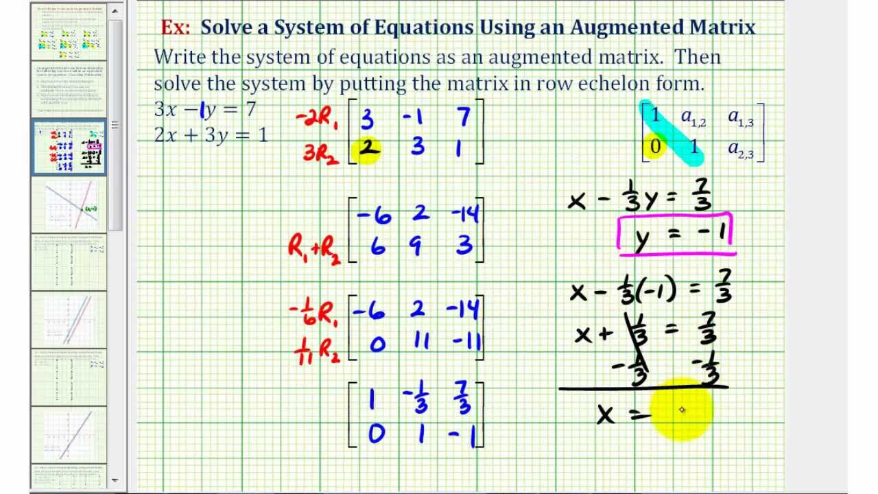 Writing a linear system in matrix form