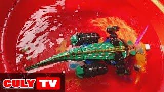 siêu nhân Robot biến hình Gao cá sấu siêu thú đi tắm hồ bơi gặp cá mập - gao hunter swimming toy kid